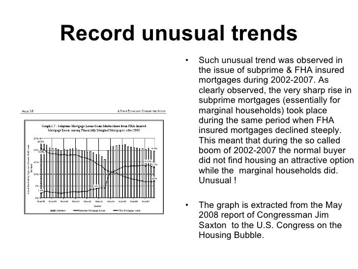 Record unusual trends <ul><li>Such unusual trend was observed in the issue of subprime & FHA insured mortgages during 2002...