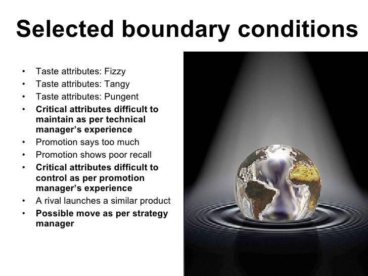 Selected boundary conditions <ul><li>Taste attributes: Fizzy </li></ul><ul><li>Taste attributes: Tangy </li></ul><ul><li>T...