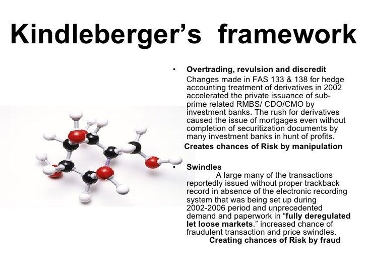 Kindleberger's  framework <ul><li>Overtrading, revulsion and discredit  </li></ul><ul><li>Changes made in FAS 133 & 138 fo...
