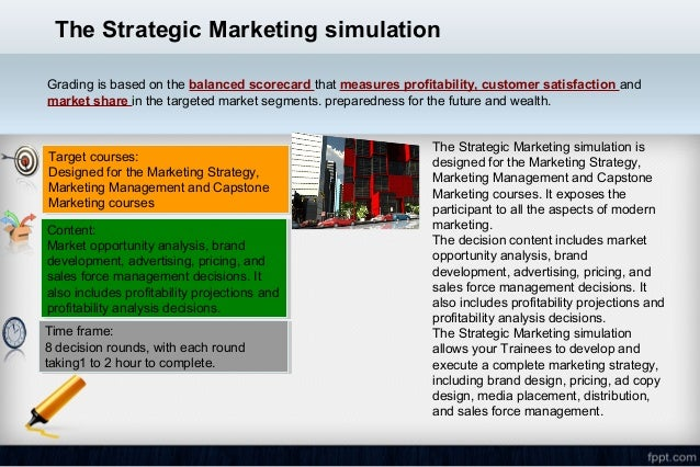 Marketplace business simulation, decisions by quarter, strategic marketing
