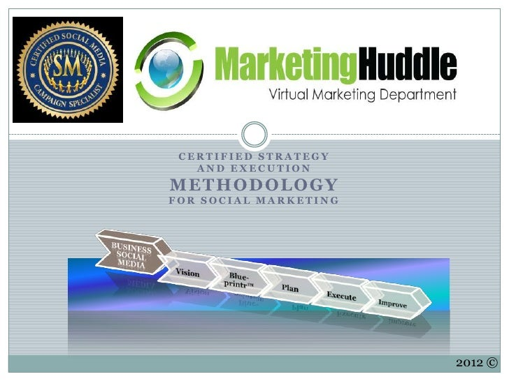 CERTIFIED STRATEGY   AND EXECUTIONM E T H O D OL O G YFOR SOCIAL MARKETING                       2012 ©