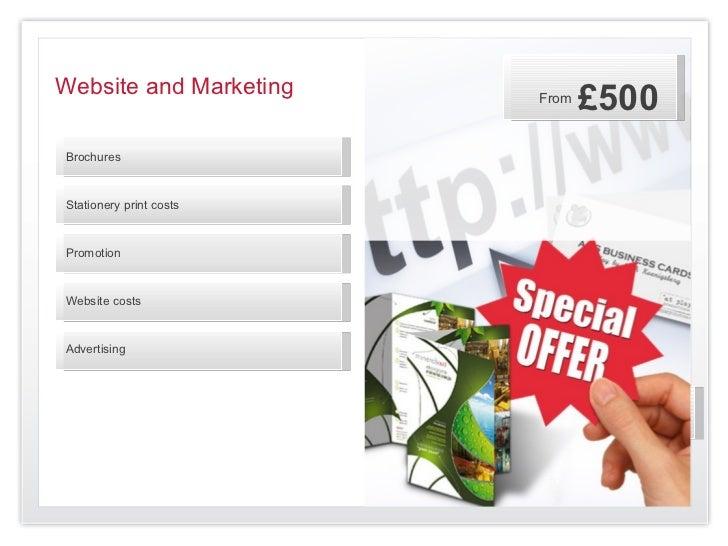 Website and Marketing    From                                £500BrochuresStationery print costsPromotionWebsite costsAdve...