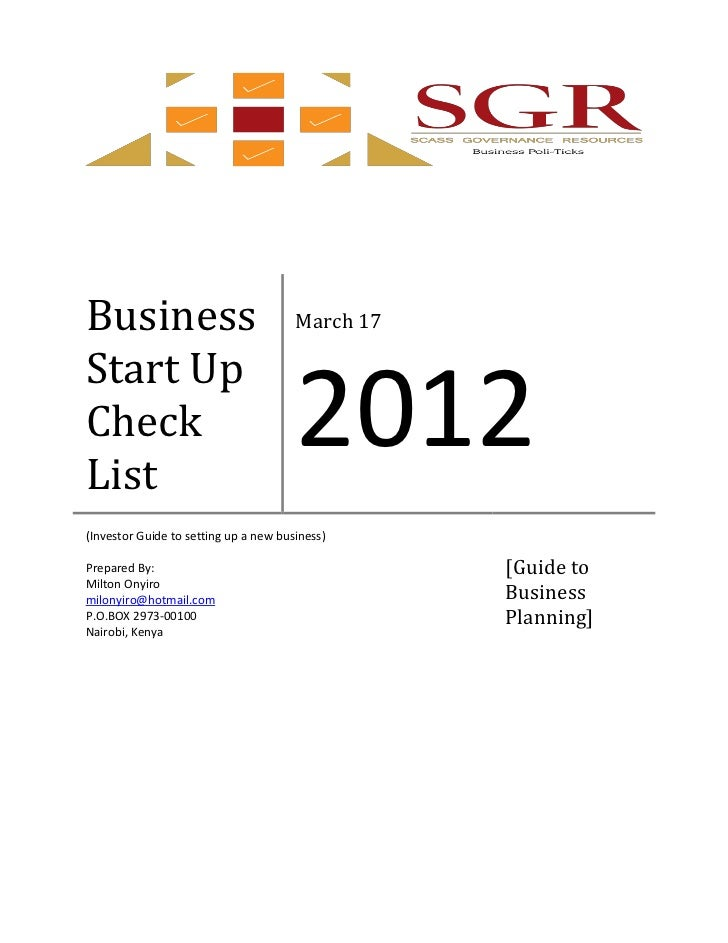 Business                               March 17Start UpCheckList                                       2012(Investor Guide...