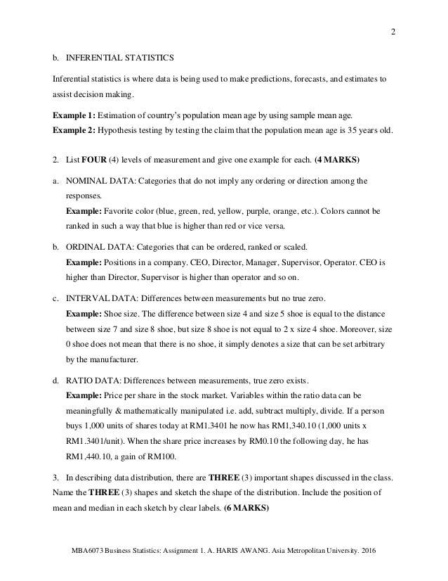 business statistics assignment answers 83f