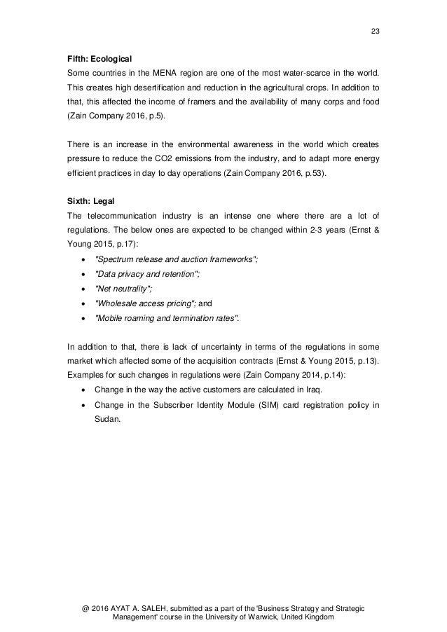 Business Strategy Development in Zain Group: A Case Study