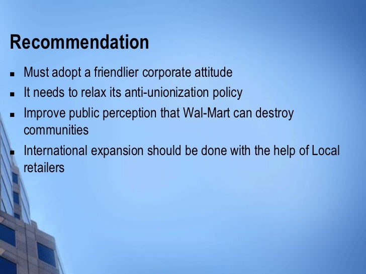 recommendation and implementation plan for wal mart Implementation of recommendations: established and has met regularly since the report was delivered to the president to plan for the implementation of the.