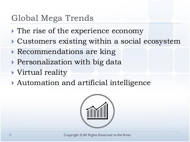 Global Mega Trends  The rise of the experience economy  Customers existing within a social ecosystem  Recommendations a...