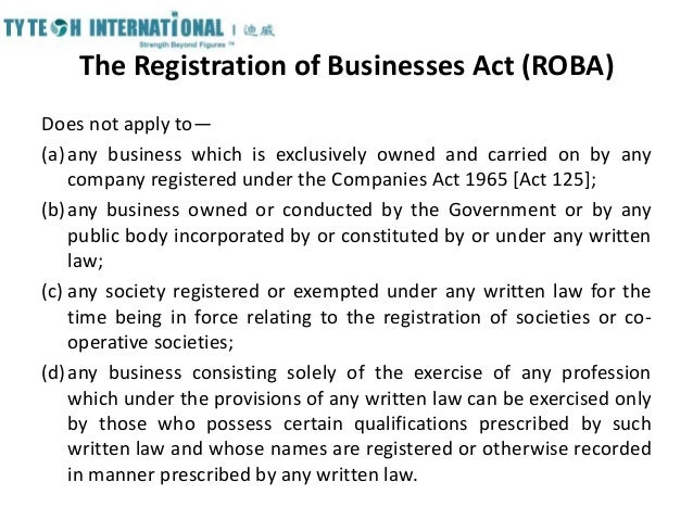 registration of business act 1956