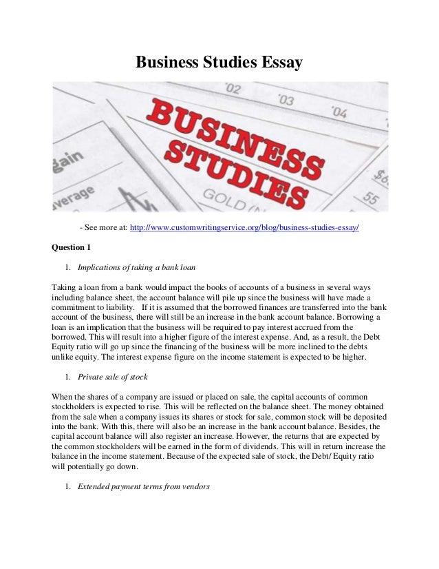 Business studies essays