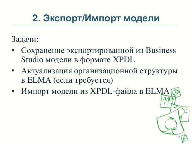 2. Экспорт/Импорт модели Задачи: • Сохранение экспортированной из Business Studio модели в формате XPDL • Актуализация орг...