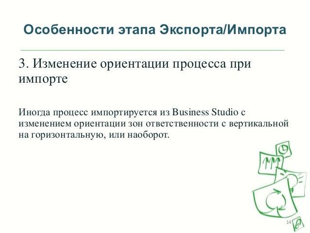 Особенности этапа Экспорта/Импорта 3. Изменение ориентации процесса при импорте Иногда процесс импортируется из Business S...
