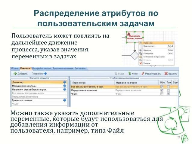 Распределение атрибутов по пользовательским задачам Пользователь может повлиять на дальнейшее движение процесса, указав зн...