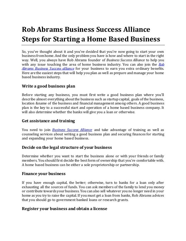 Business Success Alliance Steps for Starting a Home Based Business