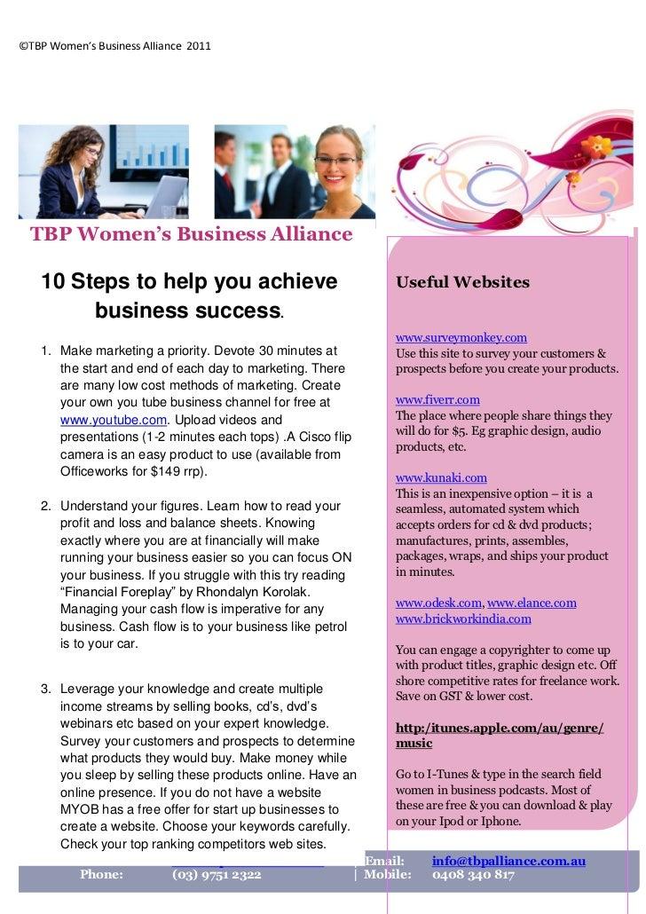 ©TBP Women's Business Alliance 2011  TBP Women's Business Alliance    10 Steps to help you achieve                        ...