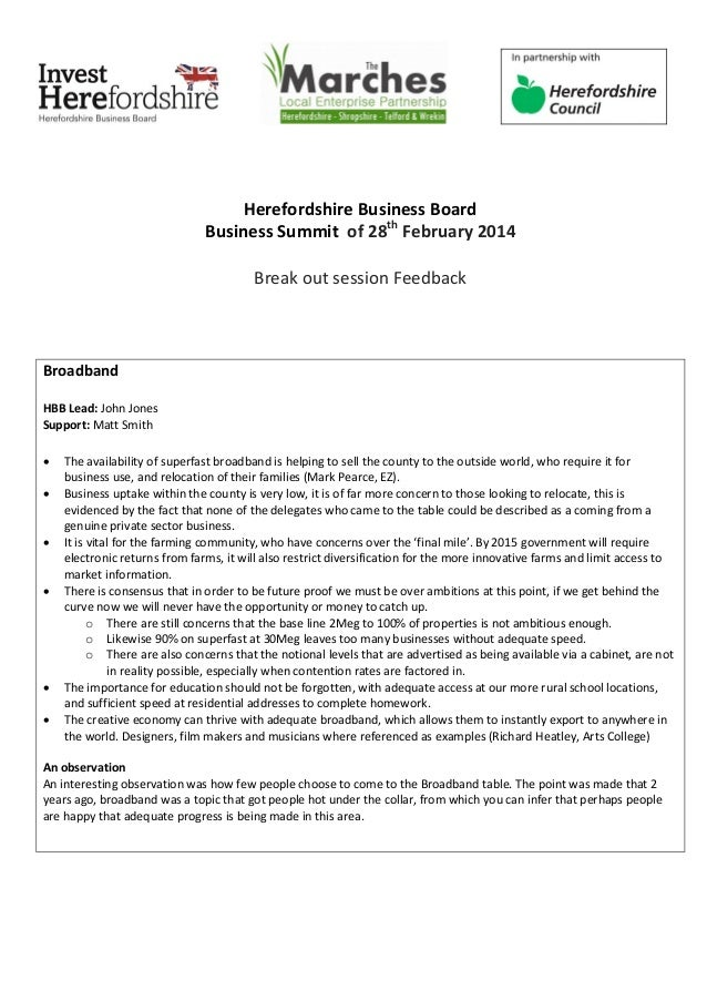 Herefordshire Business Board Business Summit of 28th February 2014 Break out session Feedback Broadband HBB Lead: John Jon...