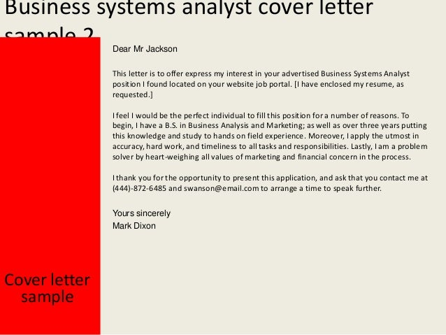 Senior system analyst cover letter