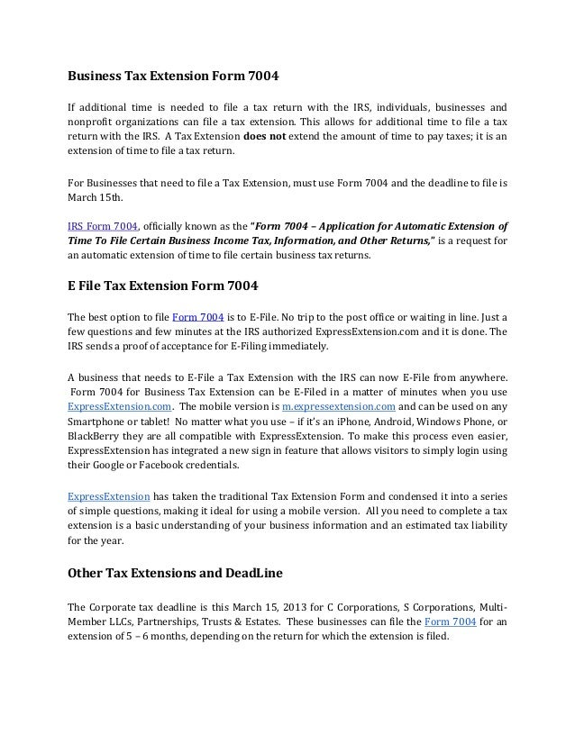 Business tax extension form 7004 and the DeadLine