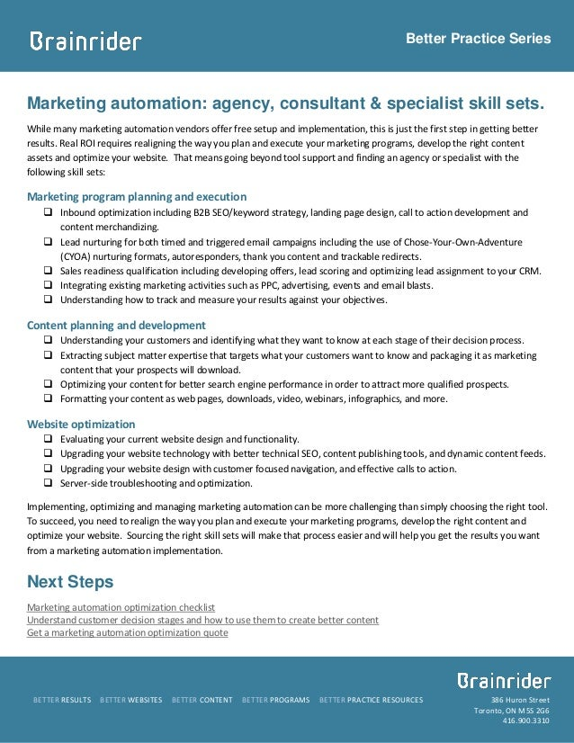 Better Practice SeriesMarketing automation: agency, consultant & specialist skill sets.While many marketing automation ven...