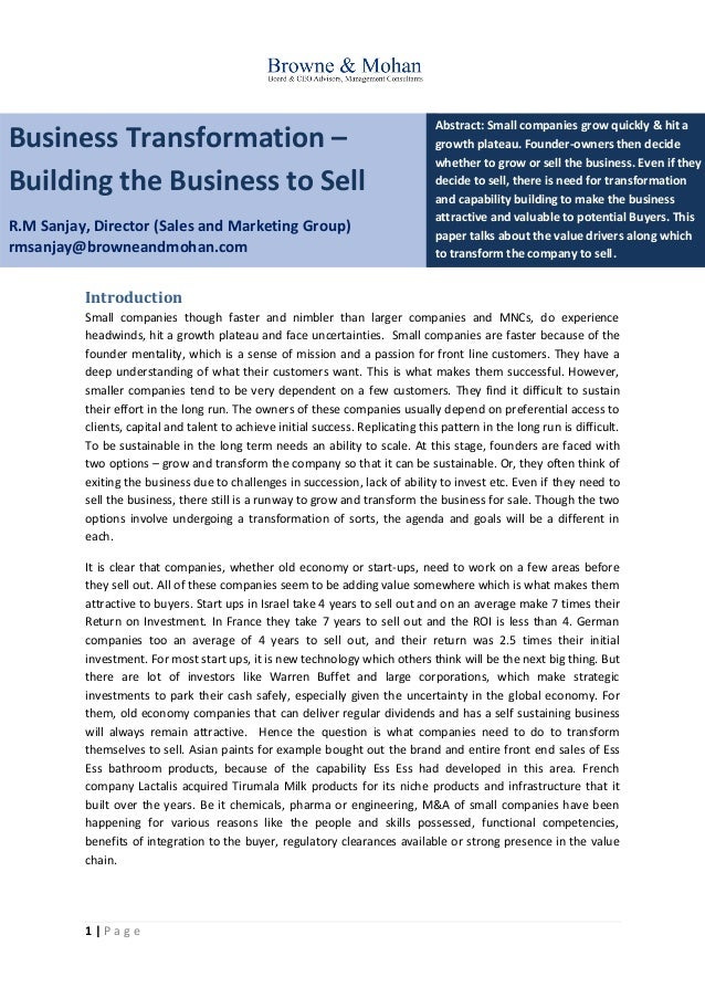 1 | P a g e Business Transformation – Building the Business to Sell R.M Sanjay, Director (Sales and Marketing Group) rmsan...