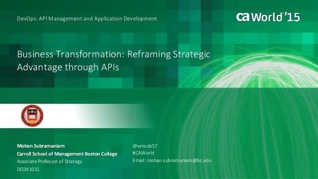 Business Transformation: Reframing Strategic Advantage through APIs Mohan Subramaniam DevOps: API Management and Applicati...