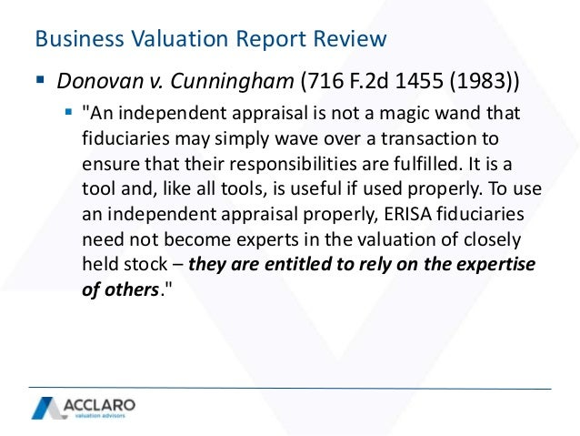 Business Valuation Report Review