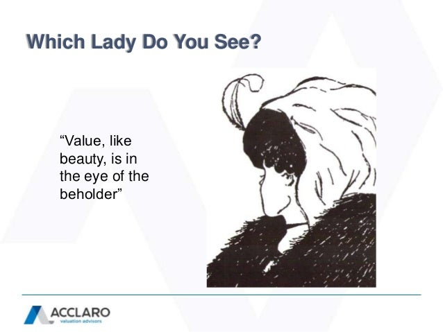 "Which Lady Do You See?   ""Value, like   beauty, is in   the eye of the   beholder"""
