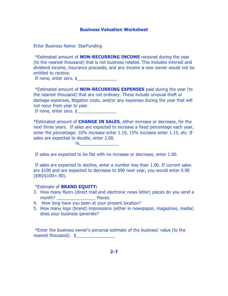 Worksheets Business Valuation Worksheet business valuation worksheet worksheet