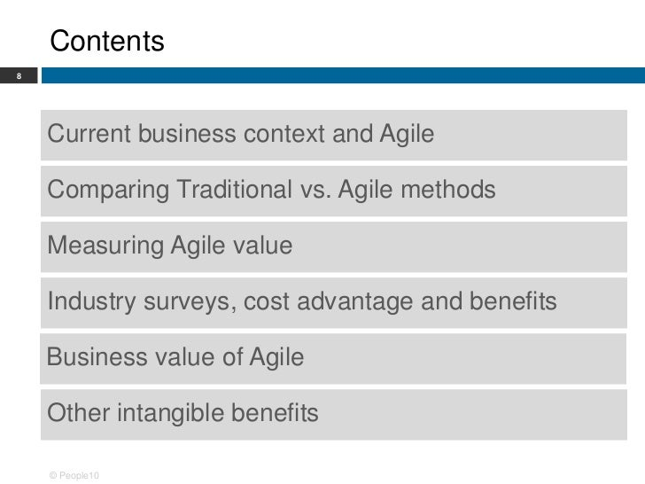 Business value of agile a people10 showcase for Agile vs traditional methodologies