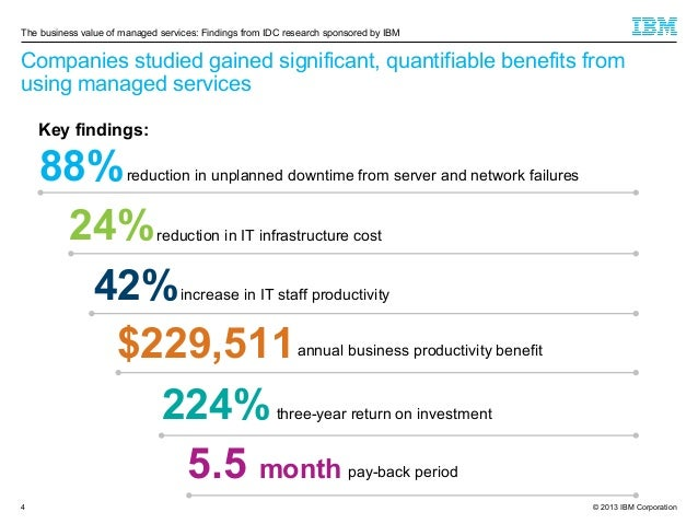 The business value of managed services: Findings from IDC research sponsored by IBM  Companies studied gained significant,...