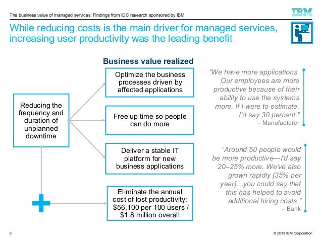 The business value of managed services: Findings from IDC research sponsored by IBM  While reducing costs is the main driv...