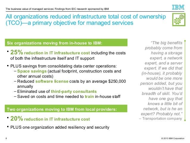 The business value of managed services: Findings from IDC research sponsored by IBM  All organizations reduced infrastruct...