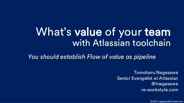 What's value of your team with Atlassian toolchain You should establish Flow of value as pipeline © 2015 nagasawa@outlook....