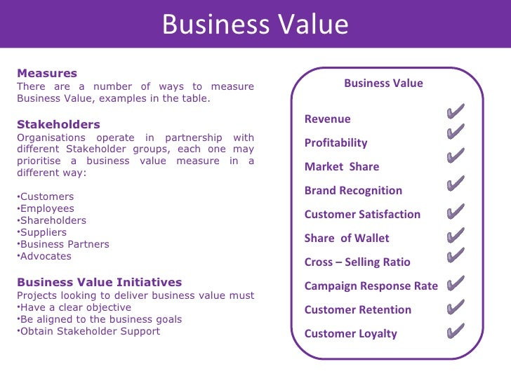 examples of defining business value for A significant part of defining a value proposition involves what i like to call the 4usif you find yourself answering a definitive yes to the majority of these questions, then you are on the.