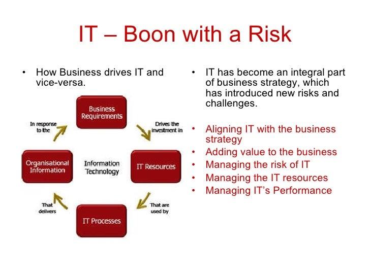 IT – Boon with a Risk <ul><li>How Business drives IT and vice-versa. </li></ul><ul><li>IT has become an integral part of b...