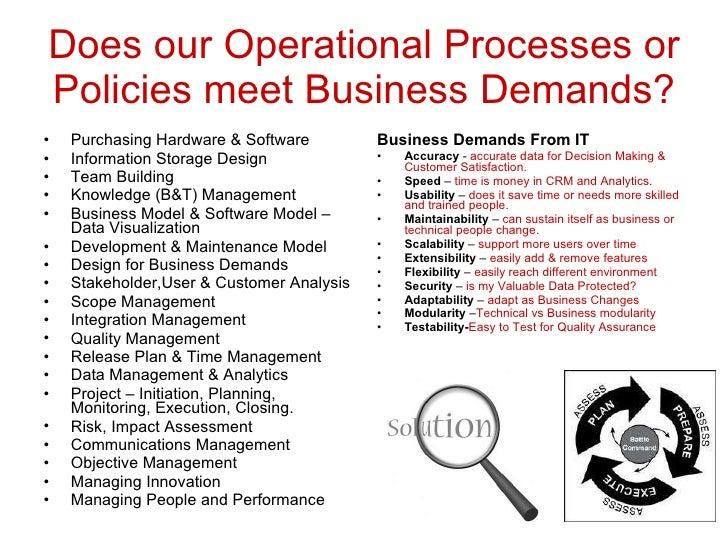 Does our Operational Processes or Policies meet Business Demands? <ul><li>Purchasing Hardware & Software </li></ul><ul><li...