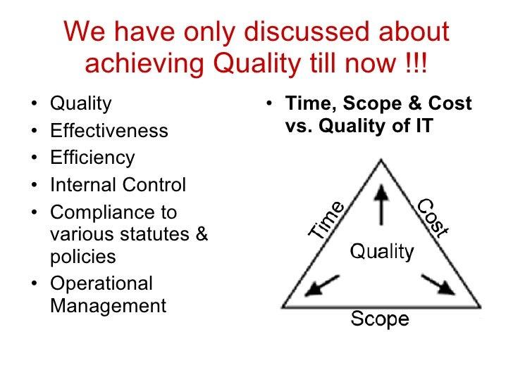 We have only discussed about achieving Quality till now !!! <ul><li>Quality </li></ul><ul><li>Effectiveness </li></ul><ul>...