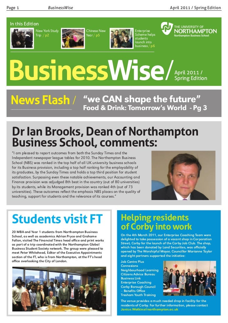 Page 1                    BusinessWise                                                                 April 2011 / Spring...