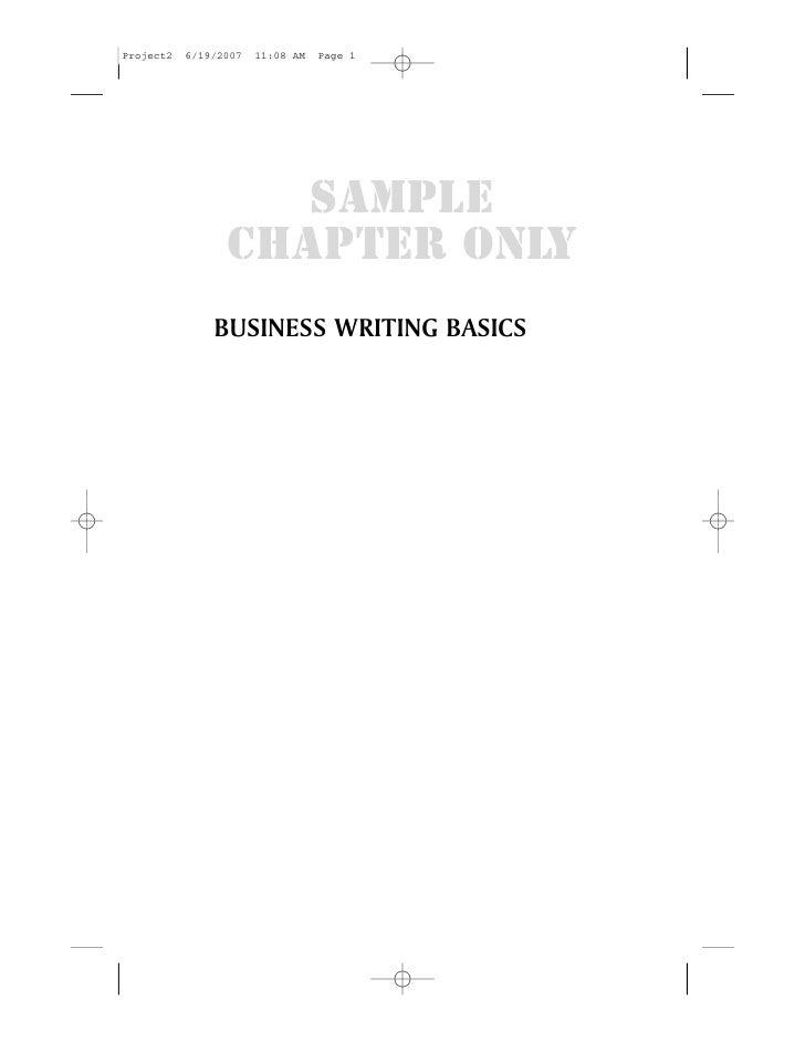 SAMPLECHAPTER ONLYBUSINESS WRITING BASICS