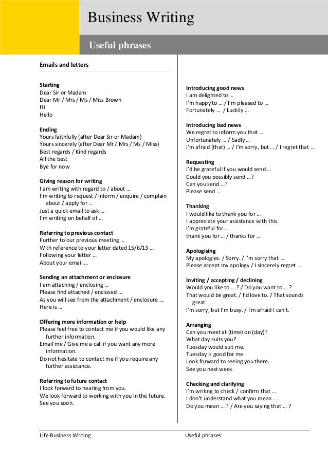 useful phrases for writing a review