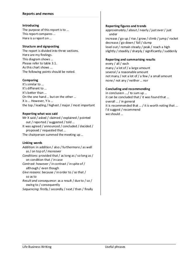 Useful phrases report