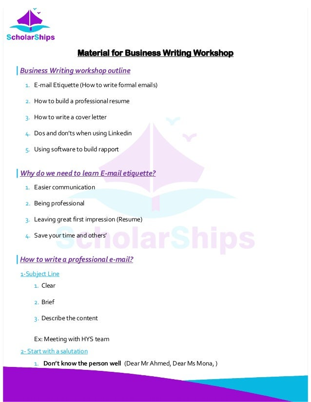 Business writing workshopConcise Material