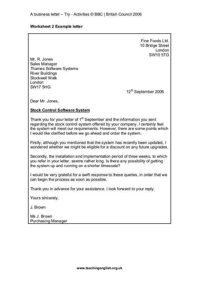Business Letter British Style
