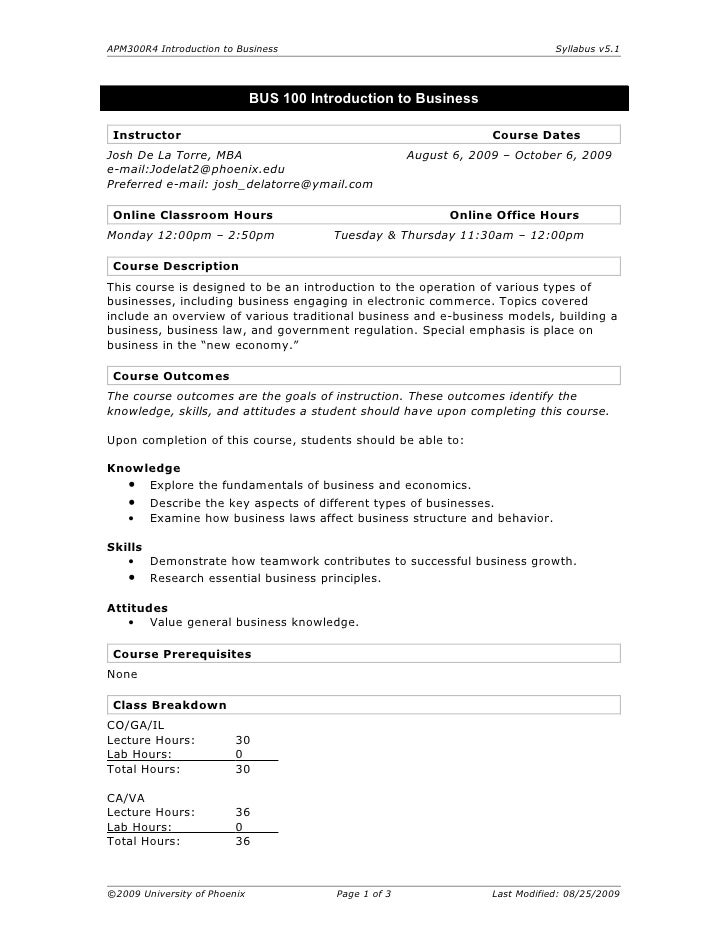 APM300R4 Introduction to Business                                                Syllabus v5.1                            ...