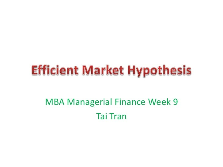 MBA Managerial Finance Week 9         Tai Tran