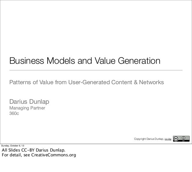 Business Models and Value Generation Patterns of Value from User-Generated Content & Networks Darius Dunlap Managing Partn...