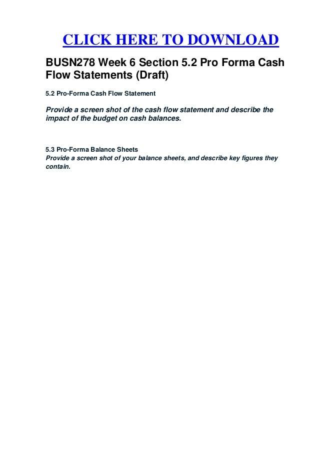 busn278 week 6 section 5 2 pro forma cash flow statements  draft