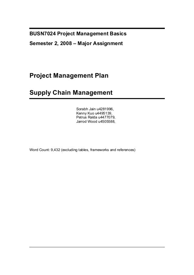 BUSN7024 Project Management Basics Semester 2, 2008 – Major Assignment Project Management Plan Supply Chain Management Sor...