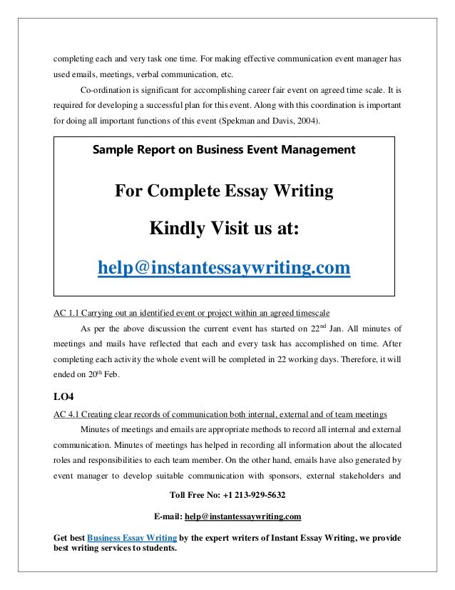 sample report on business event management instant essay