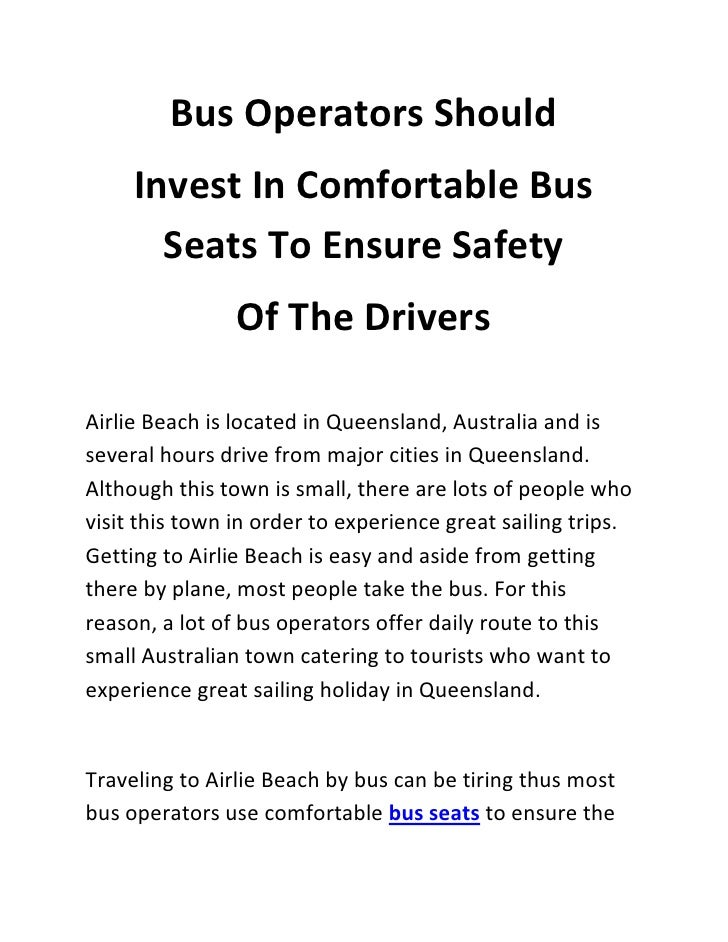 Bus Operators Should     Invest In Comfortable Bus       Seats To Ensure Safety                Of The DriversAirlie Beach ...