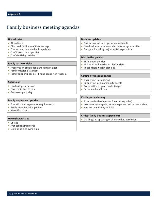 family meeting agenda